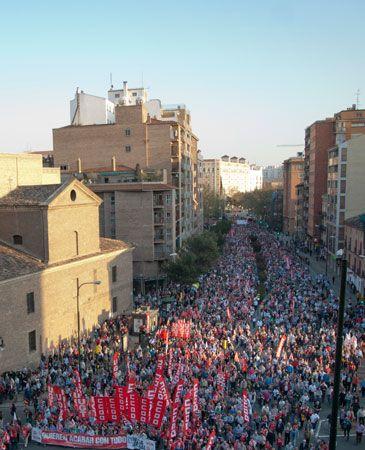 manifestacion despues de la huelga